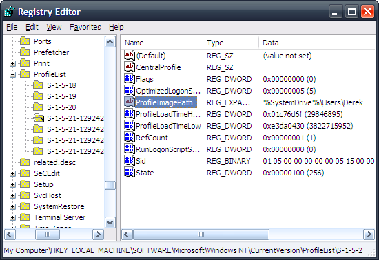 Setting the Profile Directory in the Registry